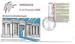 OBLITERATION BICENTENAIRE REVOLUTION - VOTE LOI INSTITUANT LES MUNICIPALITES BORDEAUX 1989 - French Revolution