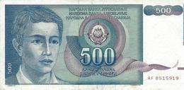 YUGOSLAVIA 500 DINARA 1990 P-106a VF S/N AF8515919 [YU106circ] - Yugoslavia