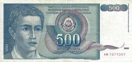 YUGOSLAVIA 500 DINARA 1990 P-106a VF S/N AM7377357 [YU106circ] - Yugoslavia