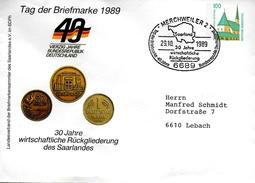 ALLEMAGNE   Lettre  PAP 1989 Merchweiler Monnaie - Münzen