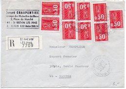 Béquet 0,50 X9 Sur Lettre Recommandée De 1974 - Marcofilie (Brieven)