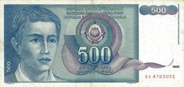 YUGOSLAVIA 500 DINARA 1990 P-106a VF S/N AS 4765051 [YU106circ] - Yugoslavia