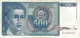 YUGOSLAVIA 500 DINARA 1990 P-106r VF REPLACEMENT S/N ZA 4486712 [YU106rep] - Yugoslavia