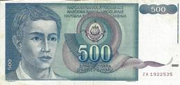 YUGOSLAVIA 500 DINARA 1990 P-106r VF REPLACEMENT S/N ZA 1922535 WITH SMALL TEAR [YU106rep] - Yugoslavia