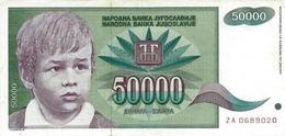 YUGOSLAVIA 50000 DINARA 1992 P-117r VF REPLACEMENT S/N ZA 0689020 [YU117rep] - Yugoslavia