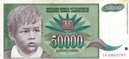 YOUGOSLAVIE 50000 DINARA 1992 P-117r TTB REPLACEMENT S/N ZA 0860787 [YU117rep] - Yugoslavia