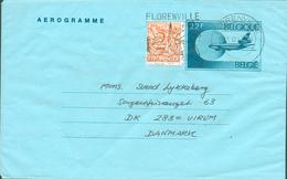 Aérogramme 22Fr. + Lion 2Fr. Obl. Dc FLORENVILLE 13-10-87 Vers Le Danemark - 11951 - Stamped Stationery