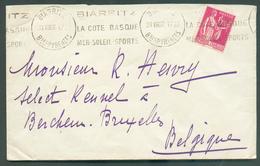 Lettre Avec Griffe VOL AERIEN COURRIER SANS SURTAXE 1er Septembre 1937 De BIARRITZ Vers Bruxelles - 10952 - Airmail