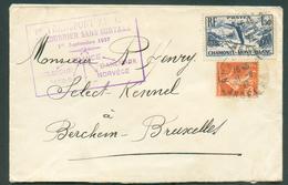 Lettre Avec Griffe VOL AERIEN COURRIER SANS SURTAXE 1er Septembre 1937 De AUBENAS Vers Bruxelles - 10953 - Airmail