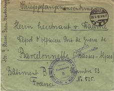 1918- Cover From POSEN W  To Barcelonnette( German Officers Camp )  -  Censures De Contrôle - Poststempel (Briefe)