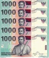 INDONESIA 1000 RUPIAH 2013 (2000) P-141m UNC 5 PCS [ID597m] - Indonesia
