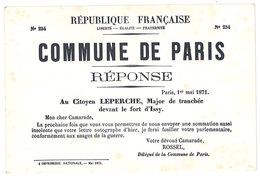 Cp Musée De L'affiche Et Du Tract - Commune De Paris, Réponse, ... Au Citoyen Leperche ...  (HI) - Storia