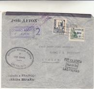 Las Palmas Gran Canaria, Guerra Di Spagna. Cover To Zurigo Par Avion Con Censura Las Palmas 1936 - 1931-50 Storia Postale
