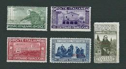 ERITREA 1926 - 7° Centenario Francescano - 5 Valori - MH - Sa: IT-ER 102-108 - Eritrea