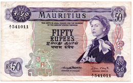 MAURICE - MAURITIUS -50 Rupees 1967 - Bank Of Mauritius - TB - Mauritius
