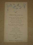 (37 Tours) - Ancien Menu Illustré Déjeuner Du 15 Juin 1912 - Salons Brunet, Bd Béranger, Tours - Imp. P. Baroin - Menus