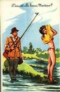 Humour -  Photochrom 495 - Illustration Louis Carrière - La Pêche - L'eau Est-elle Bonne, Monsieur (pin-up) - Carrière, Louis
