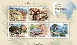 COMORES 2011 SHEET TURTLES TORTUES TARTARUGAS TORTUGAS TARTARUGHE REPTILES MARINE LIFE FAUNE FLORE MINERAUX Cm11108a - Comoros