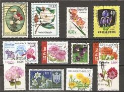 Fleurs De Jardins - Petit Lot 12 Timbres° - Oeillet - Hortensia - Iris - Narcisse - Glaieul - Dahlia - Pensée - Magnolia - Vrac (max 999 Timbres)