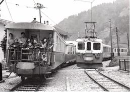 Reproduction: Croisement  De Gruben   Train  M.O.B. BVA - Stations - Met Treinen