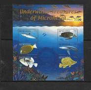 O) 2001 MICRONESIA, FISH- TURTLE OLIVE RIDLEY-GOLDRIM-TRIGGERFISH- BLUE SHARK-POLKA DOT, UNDEWATER TREASURE, MNH - Micronesia