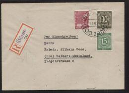 Alliierte Besetzung - MiNr. 922, 928 + 954 Auf R-Brief Mit Behelfs-R-Zettel - Mit SST 10.3.1948 - 1000 Jahre DÜREN - Zona AAS