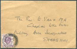 1936 Hong Kong KG5 5c Cover - Chaplain Military Area HQ, Shanghai China - Covers & Documents