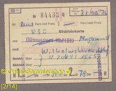 Fahrkarte (Bundesbahn) --> Angermund - Wilhelmshaven Von 1976 - Europe