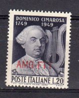 ITALY AMG FTT 1949 Domenico Cimarosa SASS. 68 - NUOVO MNH** 2 SCAN - 7. Trieste