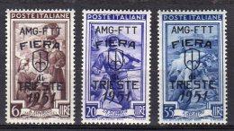 ITALY AMG FTT 1951 Fiera Di Trieste SASS. 121/123 Serie Completa Sass. S20 - NUOVO MNH** 2 SCAN - Nuovi