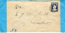 """Marcophilie-CHILI-lettre  Entier Postal""""5C Bleu Colomb-cad Yunga 1900- - Chile"""
