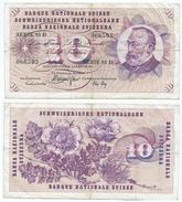 SuÍza - Switzerland 10 Francs 1974 Pick 45.t.2 Ref 1281 - Suiza