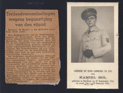 DP TERDOODVEROORDEELDE WEGENS BEGUNSTIGING VAN DEN VIJAND K. BOL ° BERCHEM 1924 + 1944 + E. BROWAEYS SPIONNAGE  W.O. II - Images Religieuses