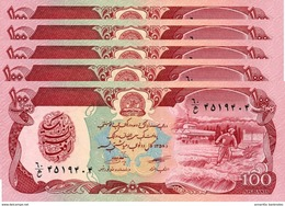 AFGHANISTAN 100 AFGHANIS 1358 (1979) P-58a UNC 5 PCS [AF342b] - Afghanistan