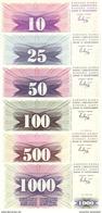 BOSNIA & HERZEGOVINA 10 25 50 100 500 1000 DINARA 1992 P-10 11 12 13 14 15 UNC SET  [BA010-BA015] - Bosnia And Herzegovina
