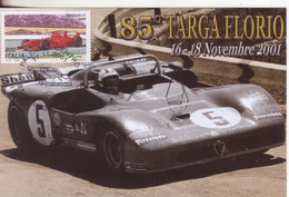 21-Italia Rep.-Marcofilia-Annullo Speciale-Auto: 85^ Targa Florio 2001-Palermo - 6. 1946-.. Republic