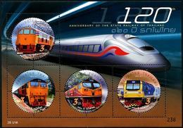 THAÏLANDE 2017 - 120e Ann Des Chemins De Fer Thaïlandais, Trains - BF Neufs // Mnh - Thailand