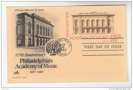 1982 Philadelphia USA 13c POSTAL STATIONERY CARD FDC Illus PHILADELPHIA ACADEMY OF MUSIC Cover Stamps - Music