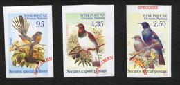 New Zealand Wine Post Inperf Birds Specimen Overprints. - New Zealand