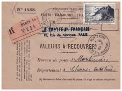 Timbre N° 764 Seul Sur Valeurs à Recouvrer De PARIS Pour MONTENDRE Du 4.9.47. - 1921-1960: Période Moderne
