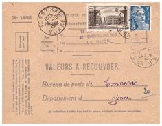 Timbres Sur Valeurs à Recouvrer De DIJON Pour TONNERRE Du 4.10.48. - Poststempel (Briefe)