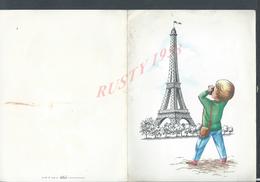 BOIS COLOMBES 1964 CARTE DE VOEUX DU CAPITAINE H. JEANNEQUIN ILLUSTRATEUR FRANÇOISE TOUR EIFFEIL : - Cartes
