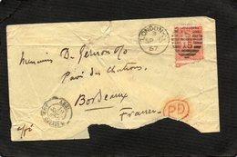 ROUGE FOUR PENCE  LONDON CALAIS BORDEAUX PD ROUGE 1967 - 1840-1901 (Regina Victoria)