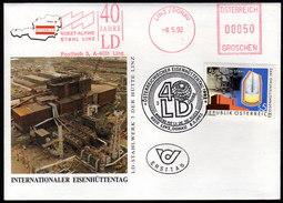 ÖSTERREICH 1992 - Eisenhüttentag - FDC Sonderstempel Und Voest Alpine Stempel - Fabriken Und Industrien