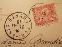 Marcophilie  Cachet Lettre Obliteration Timbre   - Cachet Port Said Egypte Sur CPA  - 1910 (974) - Covers & Documents
