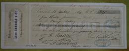 Mandat  à En-tête - Léon CONSOLO & Cie, Paris - Rubans De Soie En Gros -24 Francs - 1860 - Plusieurs Cachets Commerciaux - France