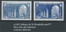 "YT 842 "" Abbaye De St-Wandrille "" Bleu Clair Ald D'outremer - Variedades: 1945-49 Nuevos"