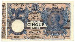 5 LIRE FLOREALE MATRICE EFFIGE VITTORIO EMANUELE III 08/11/1904 PRIMA DATA SUP- - [ 1] …-1946 : Regno