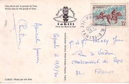 TAHITI - PAPEETE - LE 15-7-1970 - CARTE POSTALE DANSEURS POUR LA FRANCE - AFFRANCHISSEMENT A 15F. - Tahití