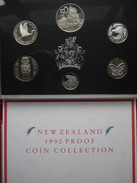 New Zealand 1990 6 Coin Set 5 Cent - 2$ Dollars Proof 2 Silver Coins Cased Info Card Royal Mint - Jamaica